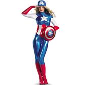 Disfraz de Capitán América Segunda Piel para mujer