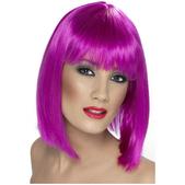 Perruque glamour violette fluo avec une frange