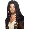 Perruque noire de pirate pour homme