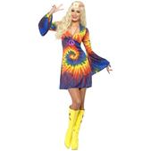 Disfraz de hippie sesentera con vestido
