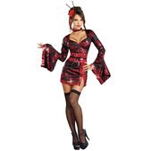 Costume de geisha dragon rouge