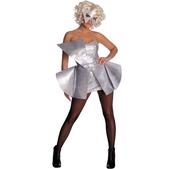 Disfraz de lentejuelas plateadas Lady Gaga para mujer
