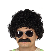 Peluca rizada con bigote