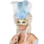 Antifaz fantasía barroca azul y dorado - Pack de 3