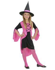 Disfraz de bruja gótica rosa para niña