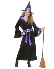 Disfraz de bruja violeta para niña