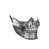 Máscara media cara de calavera metalizada