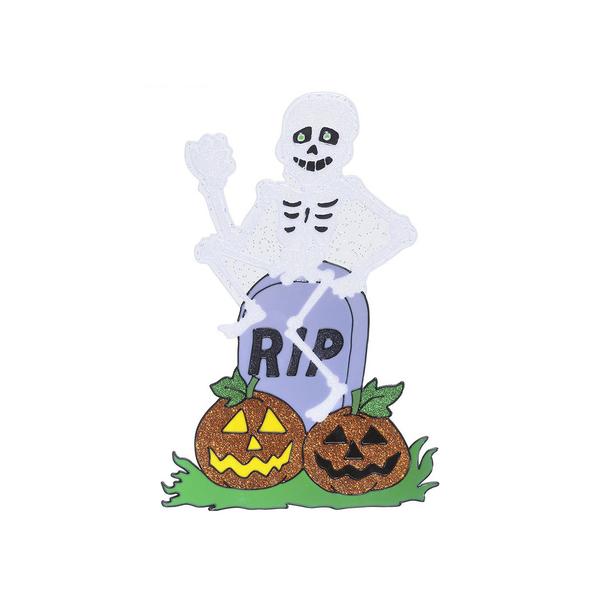 autocollant pour fen tre de squelette avec pierre tombale funidelia. Black Bedroom Furniture Sets. Home Design Ideas