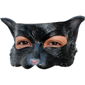 Media máscara de Kitty negra de látex