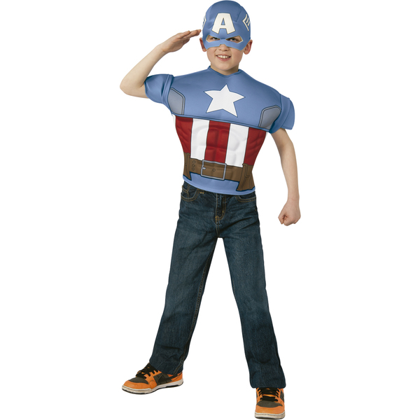 muskul ses captain america kost m set f r kinder funidelia. Black Bedroom Furniture Sets. Home Design Ideas