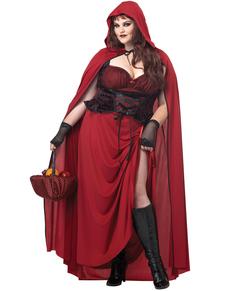 Disfraz de Caperucita roja tenebrosa para mujer talla grande