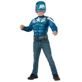 Kit disfraz Capitán América musculoso para niño