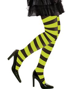 Medias de rayas verdes y negras para mujer