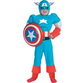 Disfraz de Capitán América musculoso niño