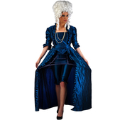 Disfraz de diva época azul lujo